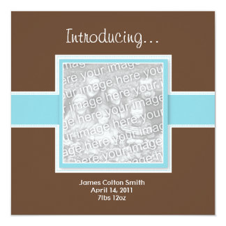 """Square Blue and Brown Birth Announcement 5.25"""" Square Invitation Card"""