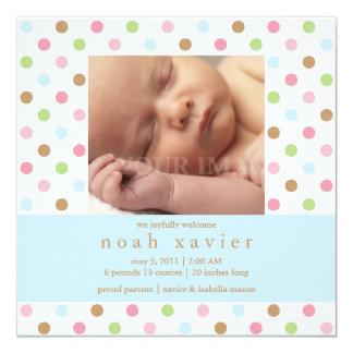 Square Blue Confetti Dots Birth Announcement