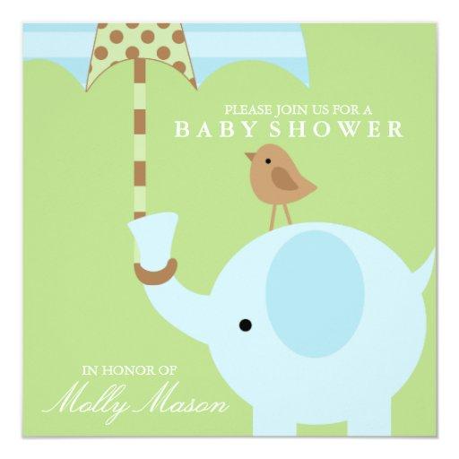 "Square Blue Elephant Baby Shower Invitation 5.25"" Square Invitation Card"