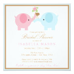 "Square Blue Elephant Bridal Shower Invitation 5.25"" Square Invitation Card"