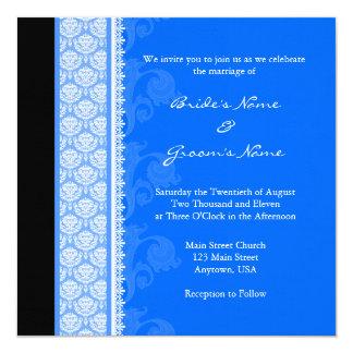 Square Blue One-Side Damask Wedding Invitations