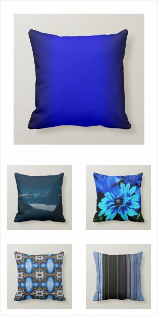 Square Blue Pillows / Throw Pillows