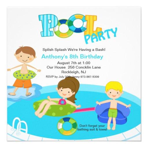 Square Blue Pool Party Boys Birthday Invitation