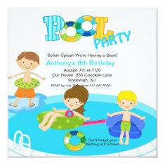 Square Blue Pool Party Boys Birthday Invitation 5.25