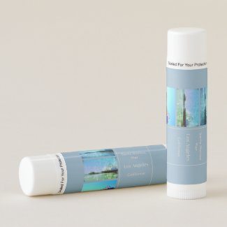 Square Blue Santa Monica Pier Collage Lip Balm