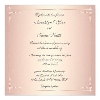 Square Blush Wedding Invitations Elegant