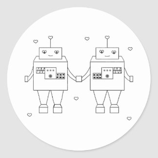 Square Bot Love Classic Round Sticker