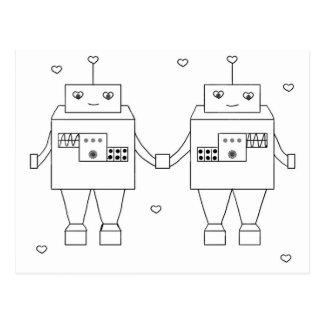 Square Bot Love Postcard