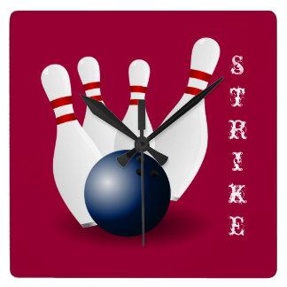 Square bowling pin clock