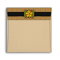 Square Brown Polka Dot Flower Pastel Envelopes