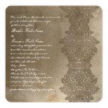 Square Brown Vintage Damask Wedding Invitation