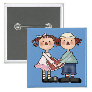 Square Button - Raggedy Ann and Andy Button