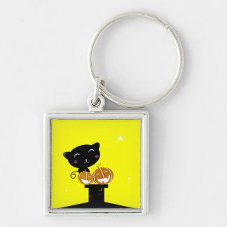 Square button with Black cat Keychain