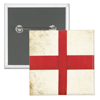Square Button with English Flag in Dirty Old Style