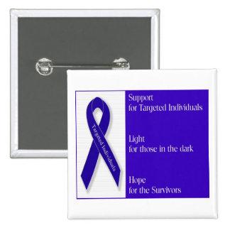 Square Button with Indigo Ribbon Logo