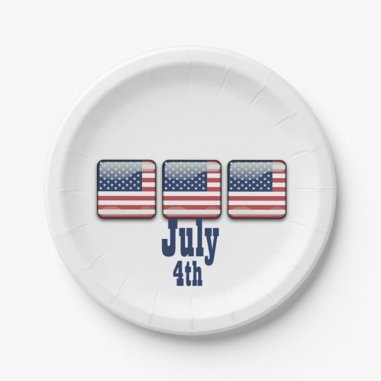 Square Button with USA Flag, July 4th Paper Plates