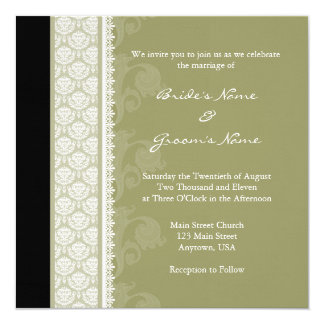 Square Camo Green One-Side Damask Wedding Card