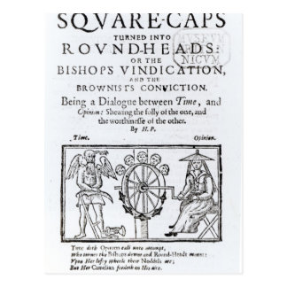 Square-Caps turned into Round Heads, 1642 Postcard