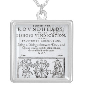 Square-Caps turned into Round Heads, 1642 Silver Plated Necklace
