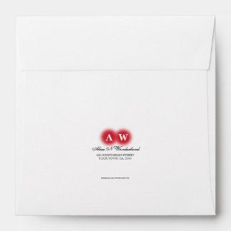 Square Card Envelope - Red Monogram Return Address