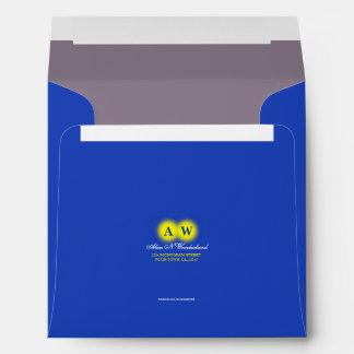 Square Carnival Blue Monogram Return Address Envelope