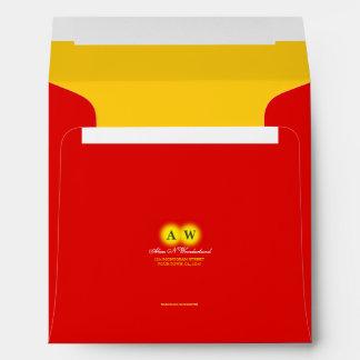 Square Carnival Red Monogram Return Address Envelope