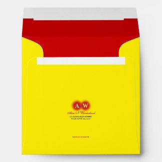 Square Carnival Yellow Monogram Return Address Envelope