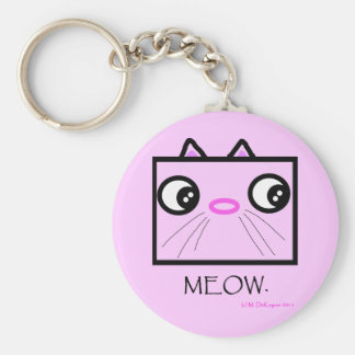 Square Cat Face Meow Basic Round Button Keychain