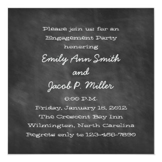 Square Chalkboard Engagement Party Invitations