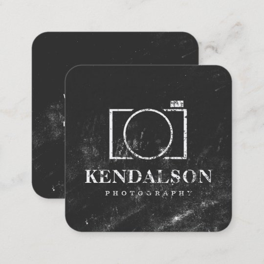 Square chalkboard photography square business card zazzle square chalkboard photography square business card reheart Images