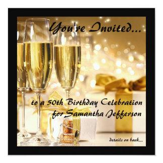 Square Champagne Sparkle Golden 50th Birthday Invitation