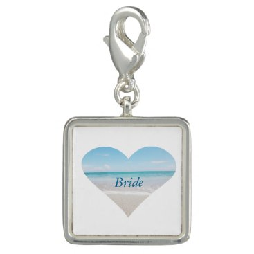 Beach Themed Square Charm, Silver Plated/Bride Photo Charms