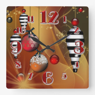 Square Christmas Bauble Clock