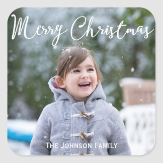 Square Christmas Greetings Stickers Add Photo