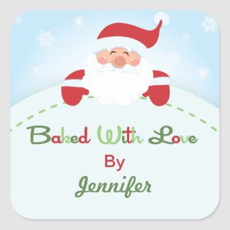Square Christmas Santa  Baking label Stickers