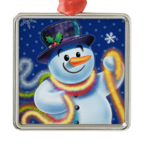 Square Christmas tree decoration Snowman & tinsel.