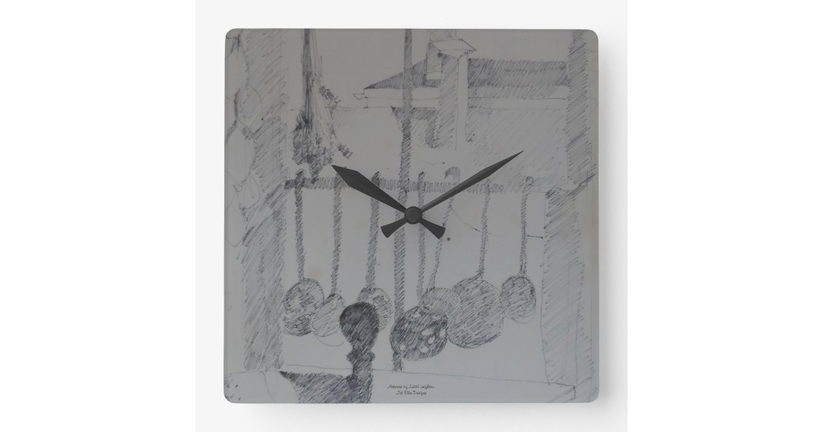 Square Clock With Kitchen Ladles And Utensils Zazzle