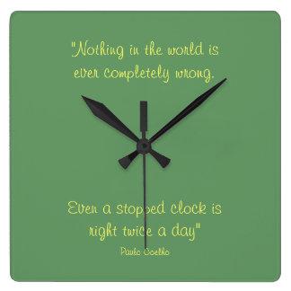 Square Clock with Paulo Coelho Quote