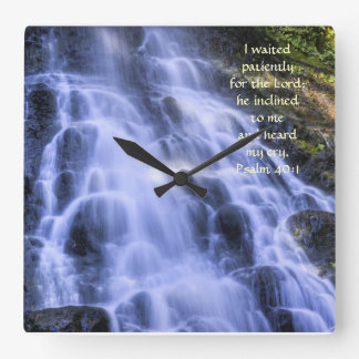 Square Clock with Waterfall and Scripture Verse