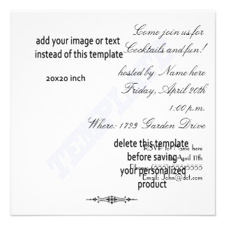 Square cocktail party template invite