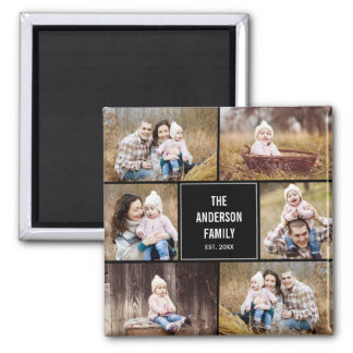 Square Collage Personalized Photo Magnet