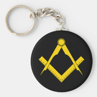 Square & Compass Basic Round Button Keychain