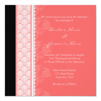 Square Coral One-Side Damask Wedding Invitations