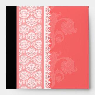 Square Coral Pink One-Side Damask Envelopes