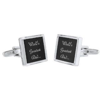 Square Cufflinks/World's Greatest Dad... Silver Cufflinks