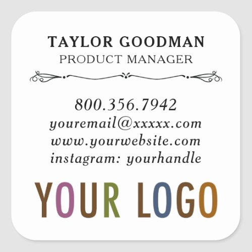 Square Custom Business Card Stickers Acid Free