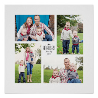 Square Custom Family 4-Photo Print