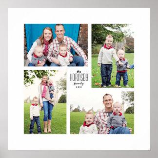 Square Custom Family 4-Photo Print Poster