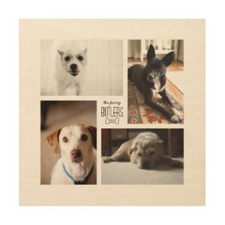 Square Custom Family Pet 4-Photo Collage Wood Wall Decor