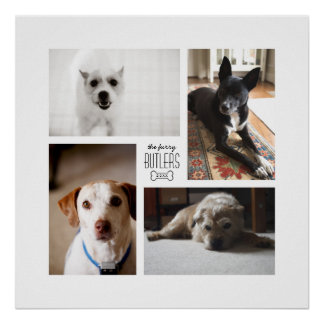 Square Custom Family Pet 4-Photo Print